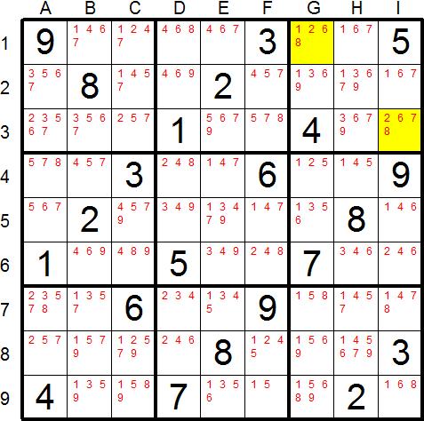 Sudoku Snake - Solving Technique - Hidden Subsets
